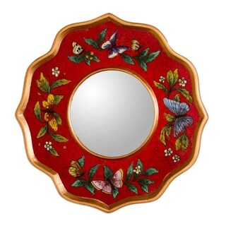 Reverse Painted Glass 'Ruby Butterfly Sky' Mirror (Peru)