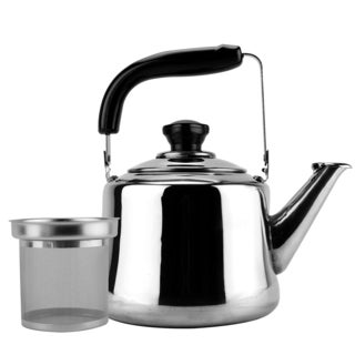 Silvertone/Black Stainless Steel 1.5-Liter Tea Kettle