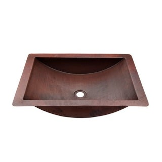 Novatto Merida Copper Bathroom Sink and Oil Rubbed Bronze Strainer Drain