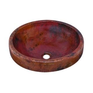 Large Round Copper Flat Lip Antique Finish Bathroom Sink