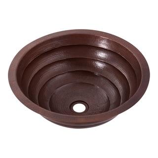 Novatto Matamoras Copper Bathroom Sink and Oil Rubbed Bronze Strainer Drain