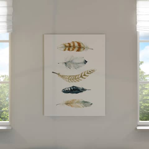 The Curated Nomad Carol Robinson 'Feather Collection II' Giclee on Gallery-wrapped Canvas Wall Art