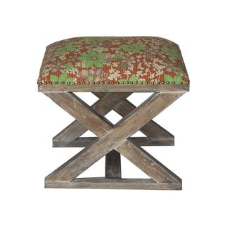 Red and Green Floral X-Bench Stool