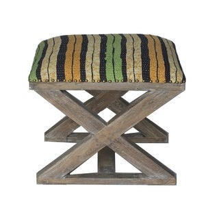 Black and Yellow Striped X-Bench Stool