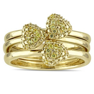 Miadora Signature Collection 14k Yellow Gold Yellow Sapphire Heart 3-Piece Ring Set