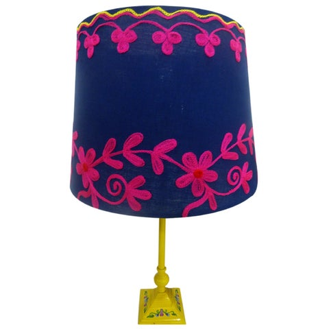 Handmade Navy Rabari Lampshade (India)