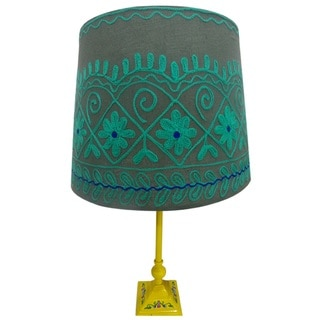Green/ Grey Rabari Lamp Shade (India)