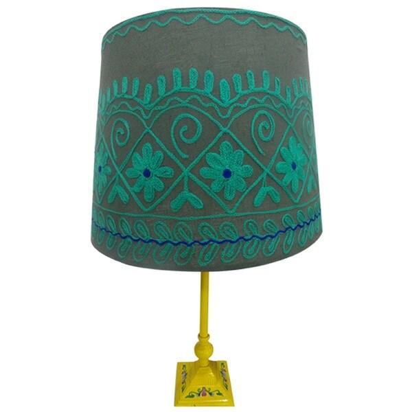 Handmade Green/ Grey Rabari Lamp Shade (India)
