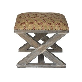 Tan and Red Paisley X-Bench Stool