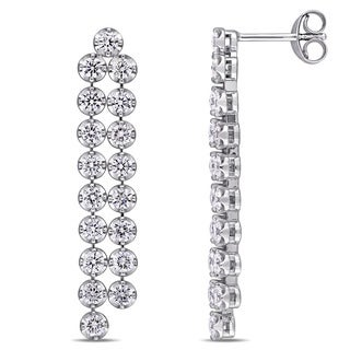 Miadora Signature Collection 18k White Gold 2 1/2ct TDW Diamond Linear Dangle Earrings (G-H, SI1-SI2)