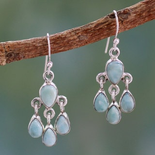 Handcrafted Sterling Silver 'Sky Drops' Larimar Earrings (India)