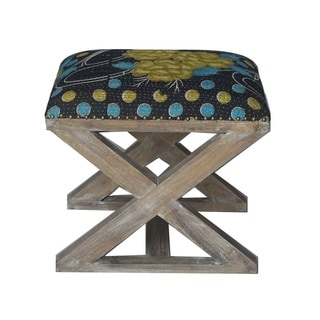 Navy and Yellow Floral X-Bench Stool