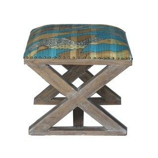Multi-pattern Beige and Blue X-Bench Stool