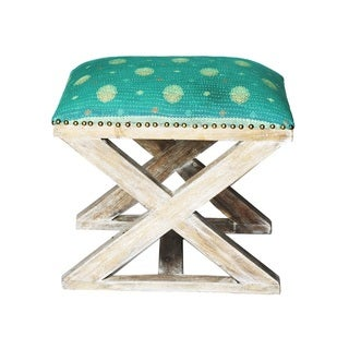 Turquoise and yellow Floral X-Bench Stool