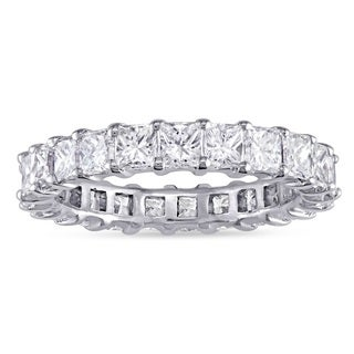 Miadora Signature Collection 14k White Gold 3-3/4ct TDW Princess-Cut Diamond Eternity Ring