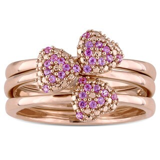 Miadora Signature Collection 14k Rose Gold Pink Sapphire 3-Leaf Clover 3-Piece Ring Set
