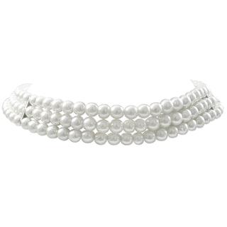 Luxiro Rhodium Finish 8-mm White Faux Pearl 3-Strand Choker Necklace