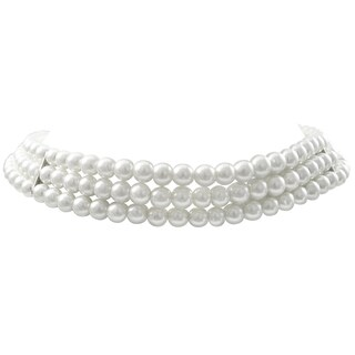 Luxiro Rhodium Finish 6-mm White Faux Pearl 3-Strand Choker Necklace