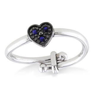Miadora Sterling Silver and Black Rhodium Created Blue Sapphire Heart Adjustable Childrens Ring