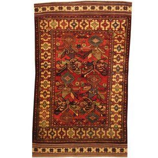 Herat Oriental Afghan Hand-knotted Tribal Balouchi Wool Rug (4'2 x 6'9)