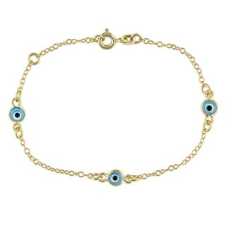 Miadora 18k Yellow Gold Baby Blue Evil Eye Station Childrens Bracelet