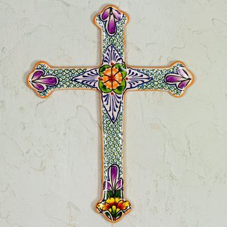 Handcrafted Ceramic 'Morning Glory' Wall Cross (Mexico)