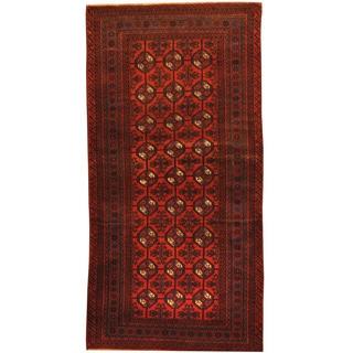 Herat Oriental Afghan Hand-knotted Tribal Balouchi Wool Rug (3'6 x 6'10)