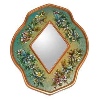 Handmade Reverse Painted Glass 'Green Summer Garden' Mirror (Peru) - Green/Multi