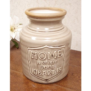 D'Lusso Designs Home Is Where The Heart Is Brown Ceramic Vase