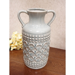 D'Lusso Designs Grey Ceramic 13-inch Pastel Handle Vase