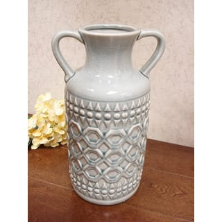 D'Lusso Designs Grey Ceramic 13-inch Pastel Handle Vase|https://ak1.ostkcdn.com/images/products/13686406/P20350086.jpg?impolicy=medium