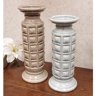 D'Lusso Designs Pastel Ceramic Candle Holders (Set of 2)
