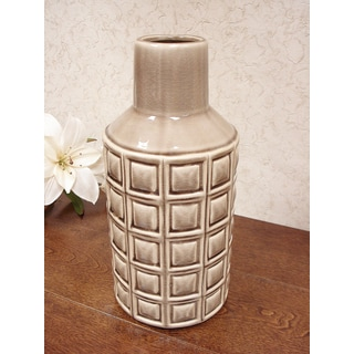 D'Lusso Designs Brown Ceramic 10-inch Weave Vase