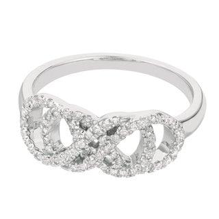 14k White Gold 1/5ct TDW Diamond Double Infinity Ring