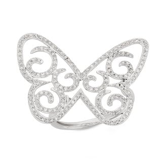 Size 7 14k White Gold Diamond Accent Filigree Butterfly Ring