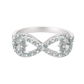 White Sterling Silver White Diamond Women's Infinity Ring