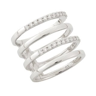 Women's Cubic Zirconia Sterling Silver Alternating 4-row Fashion Ring