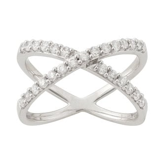 Women's Sterling Silver Cubic Zironia 'X' Fashion Ring
