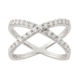 Women's Sterling Silver Cubic Zironia 'X' Fashion Ring