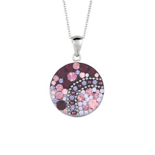 Silver Plated Brass Purple and Multicolor Crystal Round Pendant Necklace