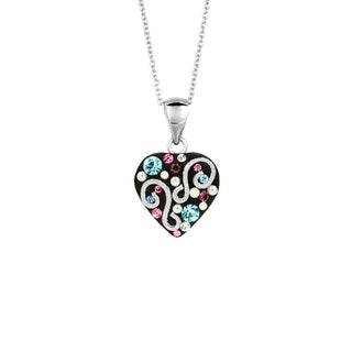 Silverplated Brass Black and Multi Color Crystal Heart Pendant Necklace