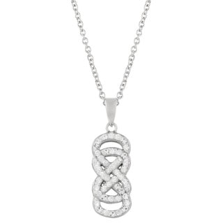 Fine Silverplated Swarovski Element 18-inch Double Infinity Pendant