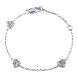 Miadora Sterling Silver Created White Sapphire Studded Heart Station Childrens Bracelet
