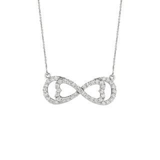 14k White Gold 3/4ct TDW Diamond Horizontal Love for Infinity Necklace (G-H, I1-I2)