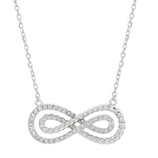 Women's 14-karat White Gold 19-inch Braided Double Infinity Necklace
