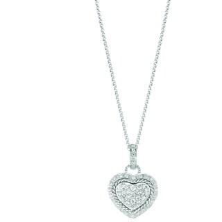 18k White Gold Diamond Accent Pave Heart Pendant