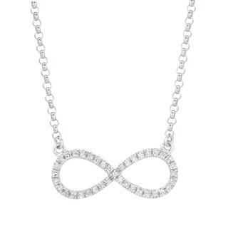14k White Gold 1/8ct TDW Diamond Infinity Necklace (G-H, I1-I2)