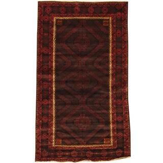 Herat Oriental Afghan Hand-knotted Tribal Balouchi Wool Rug (3'8 x 6'4)