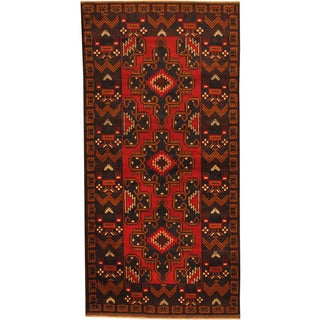 Herat Oriental Afghan Hand-knotted Tribal Balouchi Wool Rug (3'5 x 6'11)