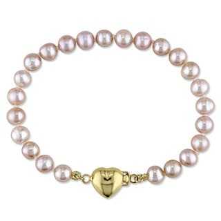 Miadora 14k Yellow Gold Pink Cultured Freshwater Pearl Strand Heart Charm Bracelet